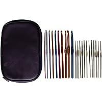 Set 22 Piezas Agujas de Ganchillo de Aluminio y Acero por Curtzy- Kit Agujas de 15cm en Estuche Purpura- Ideal para Proyectos de Ganchillo, Encaje, Blondas Y Flores- Set Principiantes Y Profesionales