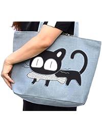 Hoho Com Women'S Urban Style Genuine Leather Tote Shoulder Bag (Grey / Cat)