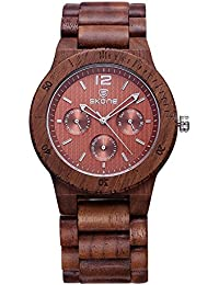 SKONE Wood Mens Watch with Nail Scale and 3eye Function Dials Quartz (Coffee Walnut)