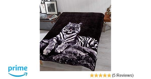 150x200cm Dreamscene Faux Fur White Tiger Mink Throw Fleece Blanket Thick Warm