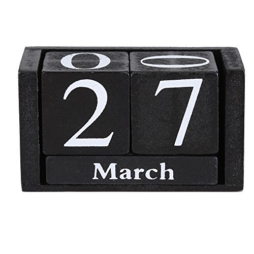 XingYue Direct Vintage Wooden Calendar,Perpetual Desktop Wood Block Month Date Display Home Office Decoration Blue&Black Schedule