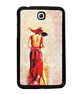 Girl in Red Dress 2D Hard Polycarbonate Designer Back Case Cover for Samsung Galaxy Tab 3 :: Samsung Galaxy Tab 2 P3200