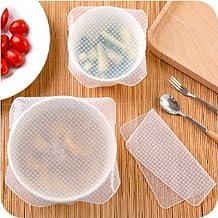 Reutilizable alimentos Wrap, 4unidades Eco Stretch tapas cuenco de favolook sin BPA ampliable sello de silicona para horno de microondas y congelador de almacenamiento para mantener alimentos frescos
