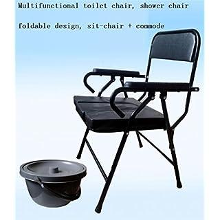 AMYMGLL Nachttisch Kommode Stuhl, Heavy-Duty Stahl Kommode Toilettenstuhl, WC-Sicherheitsrahmen, Medizinische Kommode