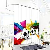 JY ART YZ Duschvorhang Anti Schimmel Wasserdicht Duschvorhänge 3D Badvorhänge Duschvorhang 180x180 cm mit 12 Ringe - Cartoon Fußball BK040, Shower Curtain, 180*180cm