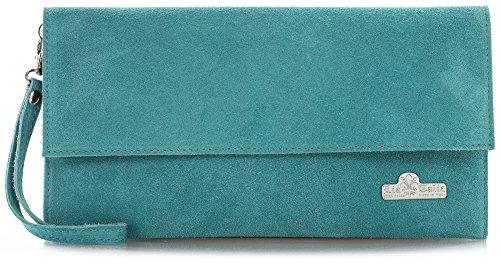 LiaTalia Italienische Armclutch aus Wildleder mit Baumwollfutter und Staubschutztasche - Cheryl (Designer Türkis Handtasche Italienischen)