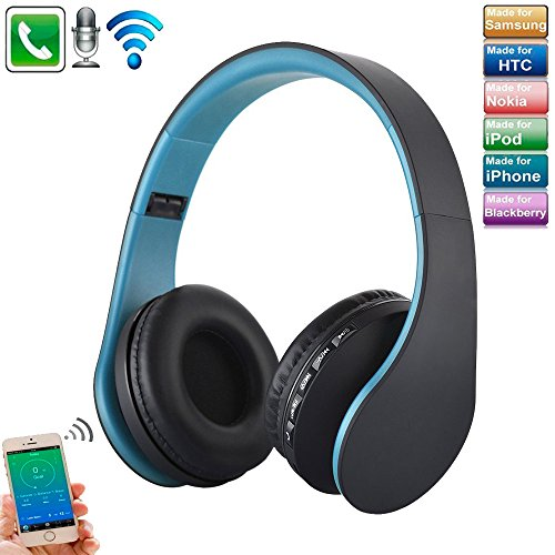 Sport Wireless Bluetooth HeadPhone, TechCode Faltbarer Drahtloser Kopfhörer Bluetooth Kopfhörer Stereo Kopfhörer Digitaler 4 in 1 Drahtloser Stereo Bluetooth 4.1 + EDR Kopfhörer Headset & Kabelgebundene Kopfhörer mit Mikrofon MP3 MicroSD FM Verwendung für iPhone 7/7 Plus, 8/8 Plus, iPhone X, Galaxy S8 / S7, S7 / S7 Edge, Samsung S9 / S9 Plus, Tablet PC / Andere Bluetooth-Gerät (Blau)