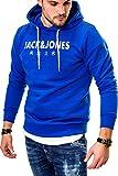 JACK & JONES Herren Hoodie Kapuzenpullover Sweatshirt (Large, Surf The Web/Elements)