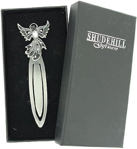 SHJ Jewel Pewter Angel Bookmark - CZ-Black