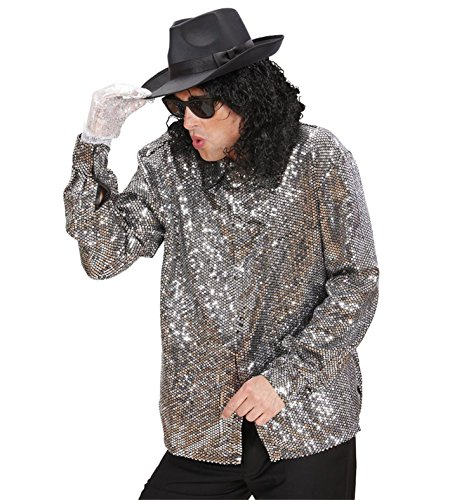 Michael Kostüme Alle Jackson (King of Pop Pailletten Disco Hemd silberfarben zum Show)