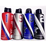 Beverly Hills Polo Club 1,9,8,2 - Deodrant Spray For Men-Combo Of 4 (175 Ml Each)
