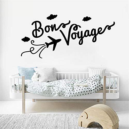 dtattoo Wohnzimmer Familie Wandtattoo Zitate Bon Voyage Vinyl Wandaufkleber Flugzeug Wolke Muster Interior Home Decor DIY Wandbild für Kind Schlafzimmer, Anzahl ()
