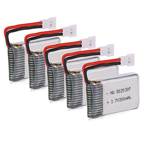 Goolsky 5pcs 3.7V 300mAh Li-po batería 5 1 Cargador