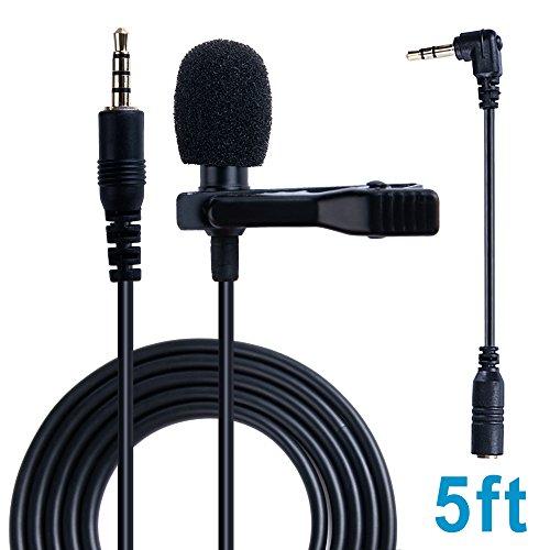 avalid Sound Aufnahme Lavalier Mikrofon Revers Wechselrahmen omnidirektional Kondensator Mikrofon für iPhone/Android Smartphone, Laptop, PC und Macbook Normal Version schwarz