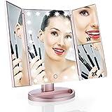 Easehold Triple Plegable Espejo con Luz para Maquillaje 1X/2X/3X Amplificador 21 Lámpara LED 180 Grado de Rotación Coméstico con Mostrador, Perfecto Regalo para Mujeres (Dorado Rosado)