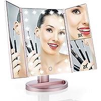 Easehold Espejo con Luz para Maquillaje Triple Plegable 1X/2X/3X Amplificador 21 Lámpara LED 180 Grado de Rotación Cosmético con Mostrador, Regalos Originales para Mujer (Oro Rosa)