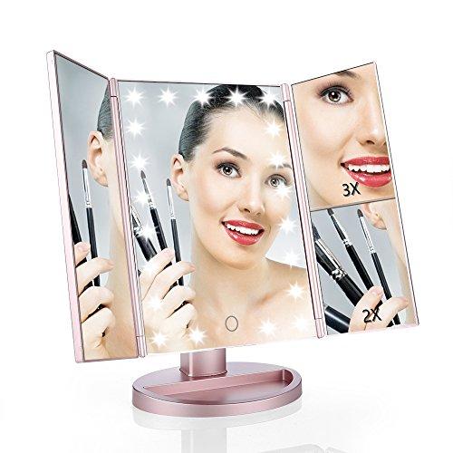 Easehold Schminkspiegel mit Beleuchtung, Kosmetikspiegel Touchscreen, standspiegel Vergrößung Modi 1X 2X 3X, Make up Spiegel mit 21 Led Licht, Faltbare Beleuchtet Schminkspiegel 180° Drehbarer, Batteriebetrieben und USB Aufladbar, Rosen-Gold