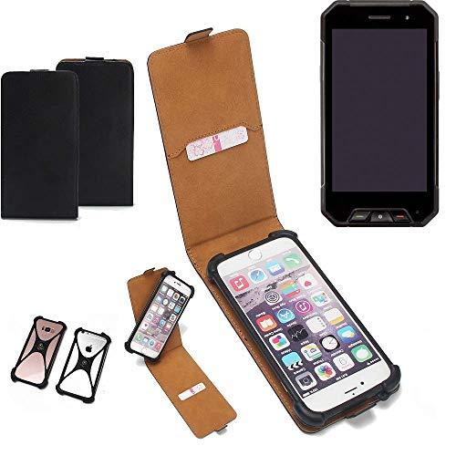 K-S-Trade Flipstyle Hülle für Cyrus CS 27 Handyhülle Schutzhülle Tasche Handytasche Case Schutz Hülle + integrierter Bumper Kameraschutz, schwarz (1x)