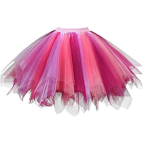 GirstunmBrand Damen 50er Vintage Tüllrock Petticoat Mehrfarbig Bubble Tanzkleid Rock Koralle Fuchsie-L/XL