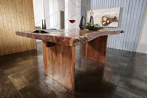 MASSIVMOEBEL24.DE Massiv Esstisch Baumkante Baumtisch 190x110xLandhausstil Walnuss Lackiert Massivmöbel Holz Freeform #102