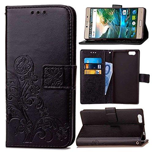 Guran® PU Ledertasche Case für Elephone M2 Smartphone Flip Cover Brieftasche und Stent Funktionen Hülle Glücksklee Muster Design Schutzhülle - Schwarz