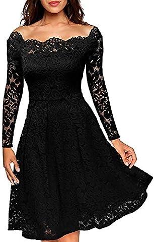 Meyison Damen Vintage 1950er Off Schulter Spitzenkleid Knielang Festlich Cocktailkleid Abendkleid Rockabilly Kleid