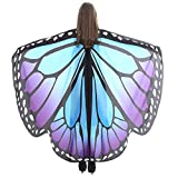 WOZOW Damen Schmetterling Schmetterlingsflügel Kostüm Faschingkostüme Schal Tuch Poncho Umhang für Party Cosplay Karneval Fasching (Blau Lila)