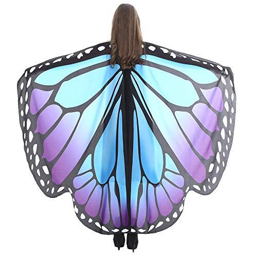 WOZOW Damen Schmetterling Schmetterlingsflügel Kostüm Faschingkostüme Schal Tuch Poncho Umhang für Party Cosplay Karneval Fasching (Blau Lila) (Cod Ghosts Kostüm)