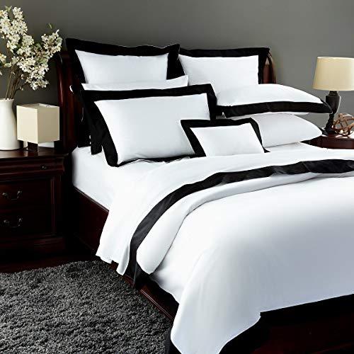 Pratesi Griffe Hotel Kissenbezug, ägyptische Baumwolle, Weiß/Schwarz -