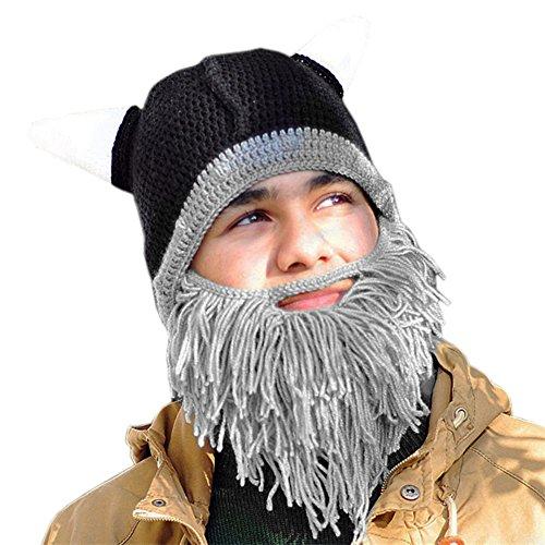 405a61bc6d4 CHIC-CHIC Men Children Winter Warm Handmade Knitted Beard Mustache Hat  Crochet Viking Beanie Hats Cap Fancy Dress Accessory (Adults Grey) - Buy  Online in ...
