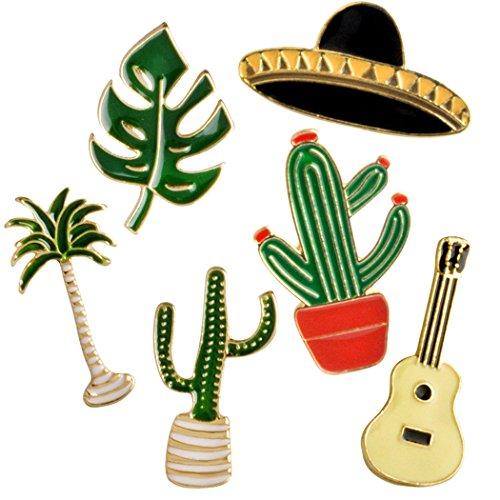 Fascigirl Cartoon Pin, 6 Stücke Nette Broschen Kreative Pflanzen Hut Gitarre Broschen Set für Kleidung Tasche Decor
