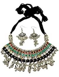 GiftPiper Oxidized Metal Jewellery Set-Multicolor Beads