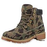 SCARPE VITA Damen Stiefeletten Camouflage Outdoor Worker Boots Schnürstiefel 165577 Camouflage 36