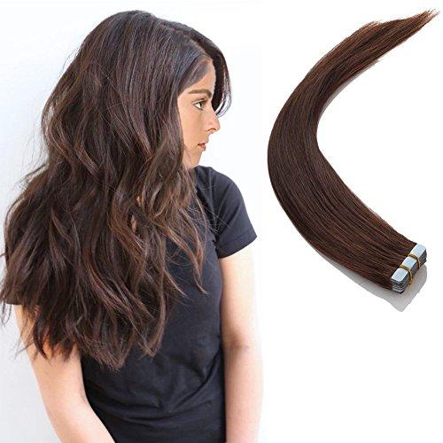 Chicfusion tape in extension capelli veri adesive - 20 fasce #04 marrone cioccolato - 100% remy human hair capelli lisci naturali