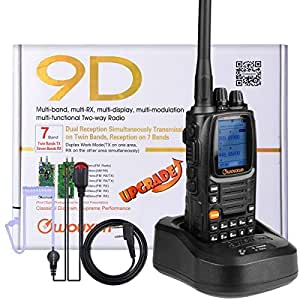 NKTECH WOUXUN KG-UV9D PLUS Dual Band TX 7-Band RX Tri-Power VHF 5W 2W 1W UHF 4W 2W 1W Cross-Band Repeater 999 Channel 136-174/400-512MHz Ham Walkie Talkie (Black With NKTECH NK-H7 Headset Earpiece)