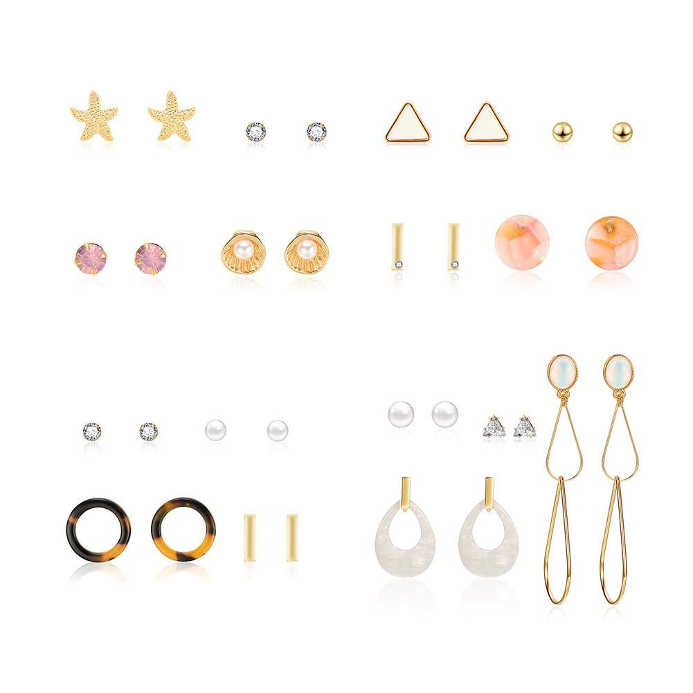 4pcs Combination Earrings Set Fashion Personality Gemstone European And American Style Jewellery For Women, Gifts For Her