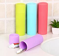 Travel Toothbrush Holder Cover Case Travel Storage Containers Case Holder Box (Round, 2Pcs)