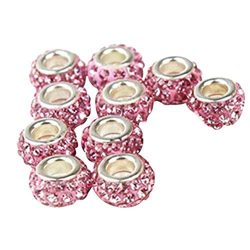 Contever® 10 Charm perline Ciondolo da donna per bracciali PANDORA e simili 8MM - Rose