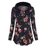 Yvelands Damen Sweatshirt Mit Kapuze Druck Mit Formalem Reißverschluss Kragenhemd Lässig Und Top Bluse(Schwarz,CN-XL)
