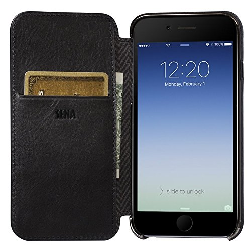 Sena Ultra Thin Wallet Book Schutzhülle für Apple iPhone 7–cognac-parent schwarz