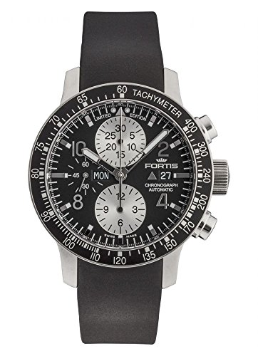 Limited Edition Fortis Stratoliner Chronograph Steel Mens Rubber Strap Watch Day Date 665.10.71.K