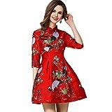 ZooBoo Chinesisches Retro-Kleid Cheongsam Bluse - Traditionelles Qipao Tang Etuikleid Orientalisch Gemustert Rotkronen Kranich Hochzeit Abend Freizeitkleidung Outfit Stehkragen Kostüm (Rot, L)