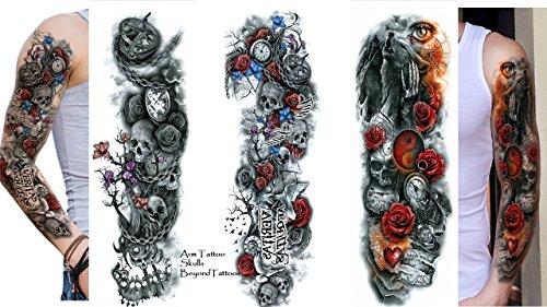 3sheet vollen arm tattoo braccio tattoo teschio rose wolf lunghezza 45cm