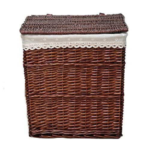 Gran cesto de mimbre para ropa marrón con tapa. interior de tela lavable.