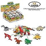 WINGLESCOUT Dinosaurier Figuren 12 St Dinosaurier Eier Mini Dinosaurier Spielzeug Dinosaurier Bausteine DIY Bausteine Spielzeug Geburtstag Geschenk für Kinder (12 St Dino Eier)