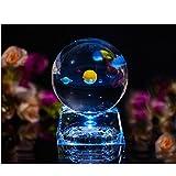 Excerando Sonnensystem kristallkugel - glaskugel Mit LED-Lampenbasis, clair 80mm Kristallglas Kugel zum geburtstagsgeschenk,geburtstagsgeschenke für freunde und universum für kinder