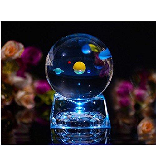 Sonnensystem kristallkugel - glaskugel Mit LED-Lampenbasis, clair 80mm Kristallglas Kugel zum geburtstagsgeschenk,geburtstagsgeschenke für freunde und universum für kinder