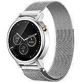18mm 20mm 22mm Reloj Bandas Pinhen Reemplazo liberación rápida Correa Banda de Milanese bucle magnético de acero inoxidable para MOTO 360 Pebble Time LG G Watch Smart Watch (22MM Silver)