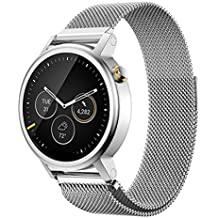 18mm 20mm 22mm Reloj Bandas Pinhen Reemplazo liberación rápida Correa Banda de Milanese bucle magnético de acero inoxidable para Huawei Gear S2 MOTO 360 Pebble Time LG G Watch Smart Watch (18MM Silver)