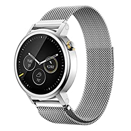 Pinhen 20mm Correa - Milanese Magnético de Acero Inoxidable Reemplazo Banda para Amazfit Bip, Galaxy Watch 42mm, Ticwatch E, Gear S2 Classic, Huawei Watch 2, Vivoactive 3 (20MM Silver)